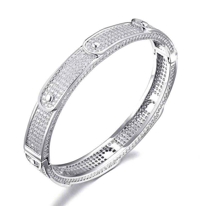 D & Z Bracelet Hip Hop pour hommes couleur or argent glacé sur CZ zircon cubique pavé réglage bijoux de mode