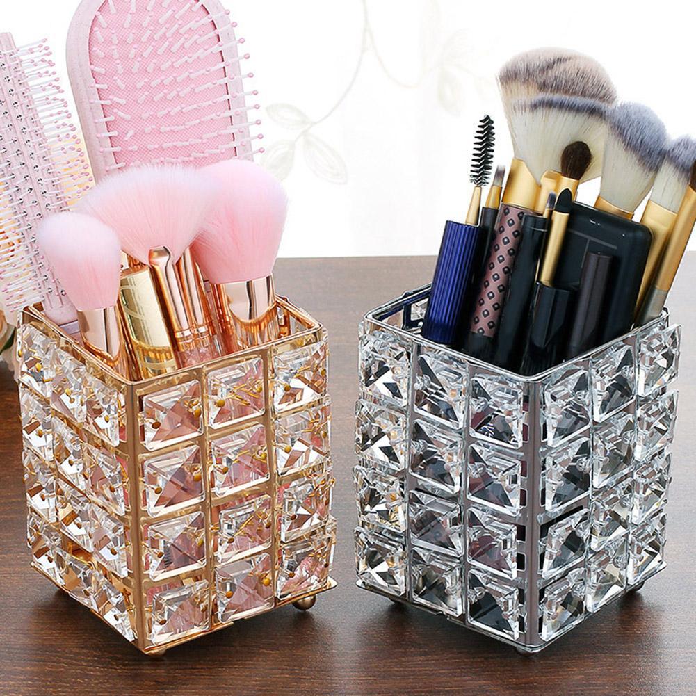 Metal Artificial Crystal Pen Pencil Holder Makeup Brush Storage Stand Desk Decor