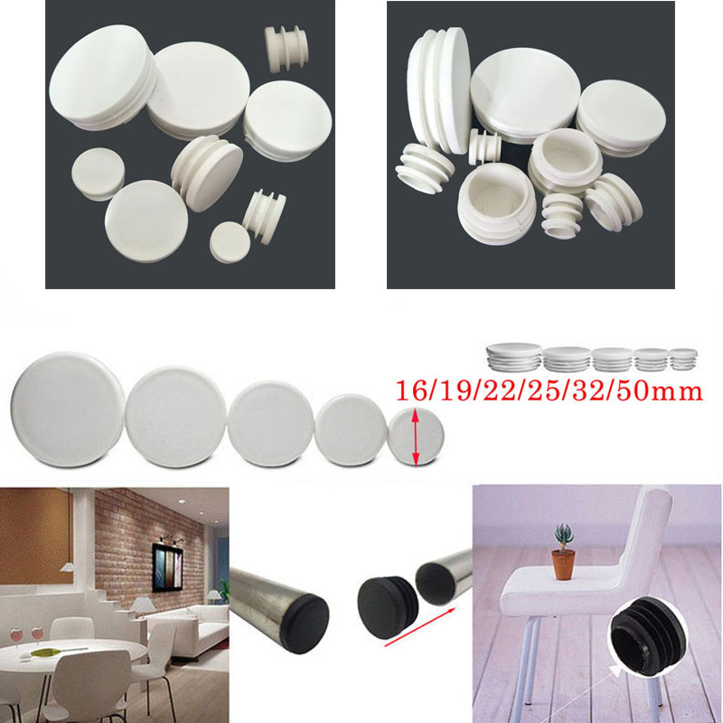 20pcs Round Plastic White Black Blanking End Cap Caps Tube Pipe Inserts Plug Bung For Furniture Chair Table Steel Leg Protector
