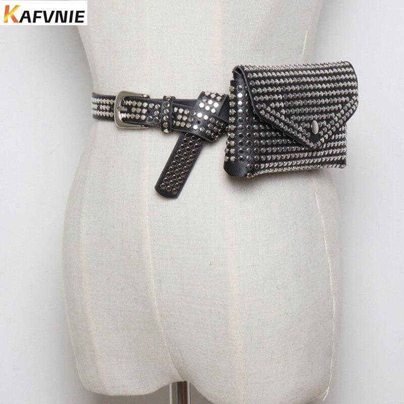 KAFVNIE Mode Fashion Rivets Luxury Designer Fanny Pack Size Pack Women Waist Bag Phone Pouch Pouch  Leather Belt Bag 1542