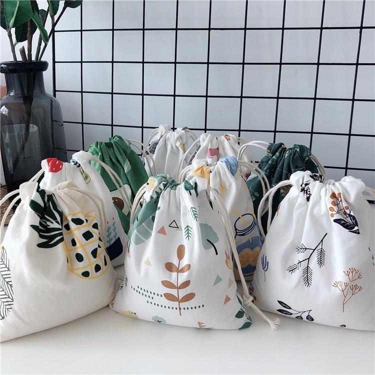 New Women Printing Drawstring Backpack Change Bag Cotton Animal Plant Print Lipstick Toilet Paper Storage Travel Bag Gift Bag