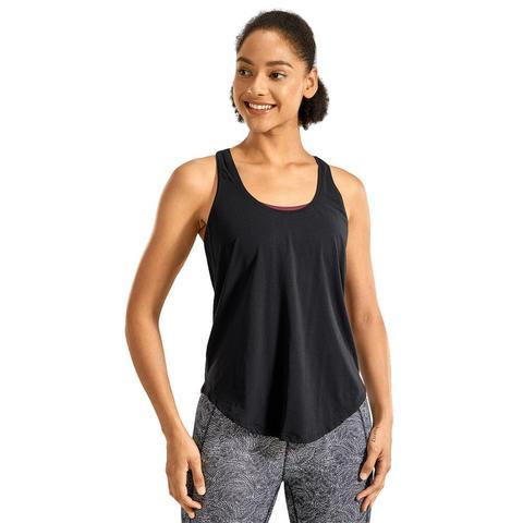 Mulher Flowy Leve Pima Algodão Workout Tank Topos-racerback Macio Athletic Yoga Tanks
