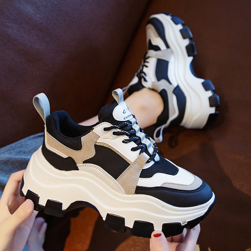 Women Chunky Sneakers Vulcanize Shoes Korean Fashion New Female Black White Platform Thick Sole Casual Shoes Woman Sneakers 8cm