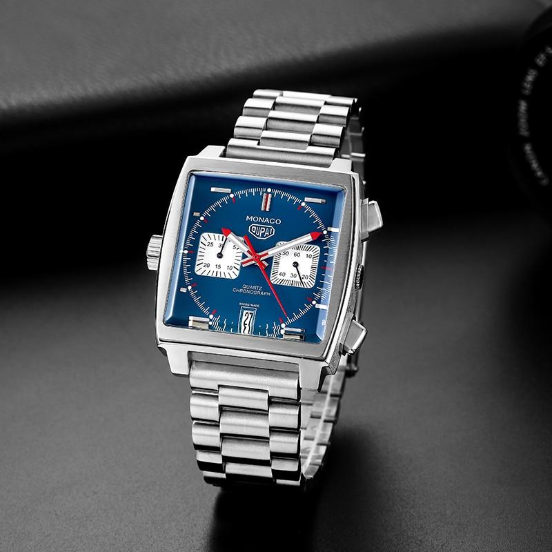2020 New Arrival Square Racing Watch Tag Monaco Design Chronograph Sport Watch Quartz Watch Men with Calendar Blue Face