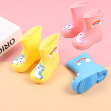 All Season Fashion Rainbow Rain Boots Boys Girls Cartoon Rain Boots Waterproof Teens Wearable Rubber shoes Rain Boots Kids(China)