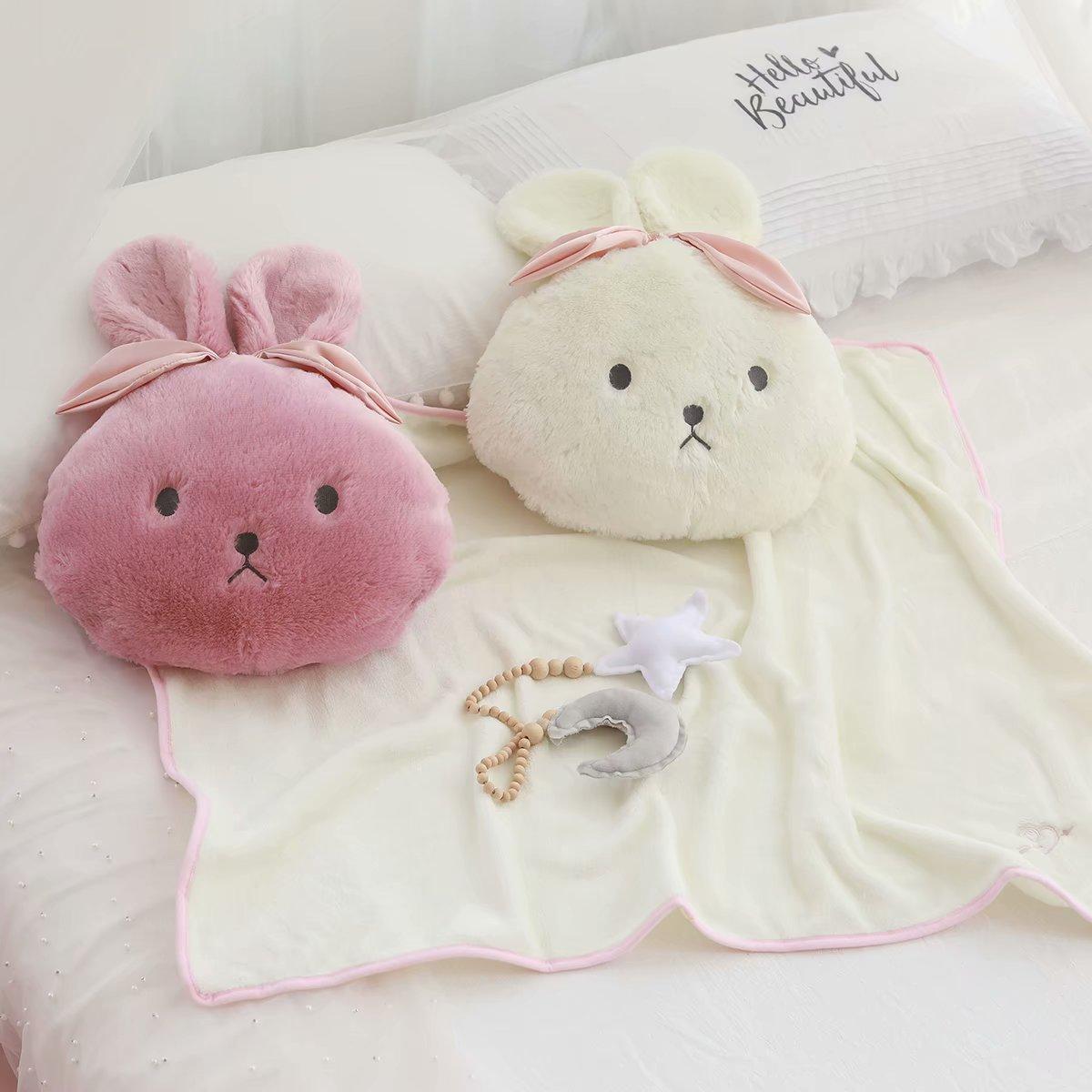 1pc bonito brinquedo de pelucia um cobertor no travesseiro coelho bowknot rodada travesseiro cobertor almofada de
