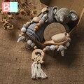 Neugeborenen baby bad handtuch Baby spielzeug set Einfarbig Baumwolle Decke Aus Holz Rassel Milestone Häkeln tier Spielzeug Baby Bad Geschenk