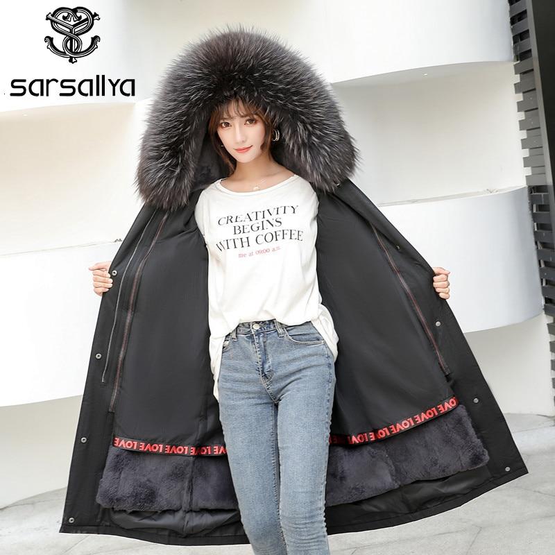 Real Fur Hood Parka Winter Women Fur Parkas 2019 Female Coats Fur Parka Thick Warm Fashion Detachable Lining Rex Rabbit Clothes