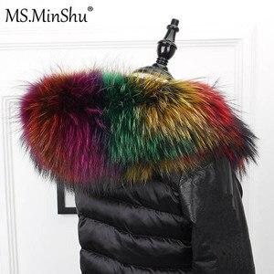 Image 5 - さん minShu ビッグ毛皮の襟本物のアライグマの毛皮フードトリムスカーフ黒色パーカーコートの毛皮の襟スカーフカスタムメイド