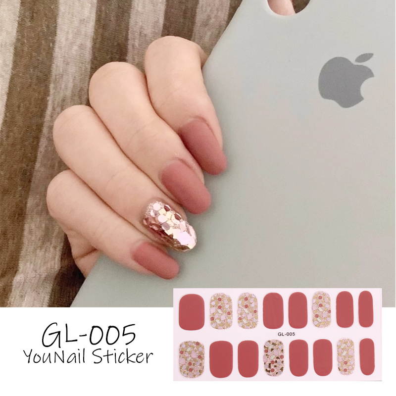 Lamemoria 16Tips GL Stickers Full Cover Wraps Decorations DIY Manicure Slider Nail Vinyls Nails Manicure Self-adhesive Decals