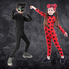 Filles déguisement d'halloween Anime vêtements vêtements de fête garçons Fantasia Spandex Cosplay Costumes rouge Bug chat Noir poupées pour enfants garçon