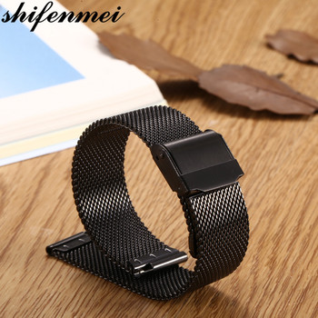 цена на 22mm Black Watch Strap Metal Mesh Stainless Steel Wristwatch Band Women Men Bracelet Watch Band Fashion Watch Strap