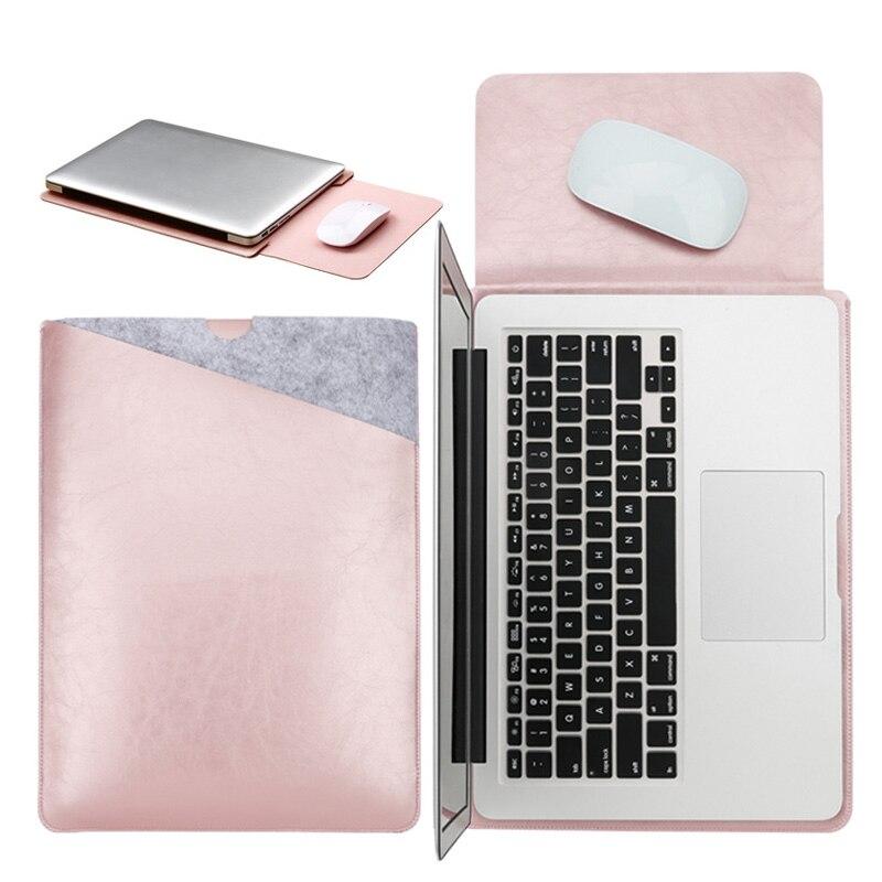 Bilgisayar ve Ofis'ten Dizüstü Bilgisayar Çanta ve Kılıfları'de Mouse Pad çantası Notebook çantası Xiaomi Macbook Air 12 13 kapak Retina Pro 13.3 15 15.6 moda dizüstü bilgisayar kılıfı deri çanta title=