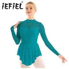 Women Adult Mock Neck Long Sleeve Floral Lace Figure Ice Skating Roller Skating Ballet Dance Leotard Dress for Stage Performance