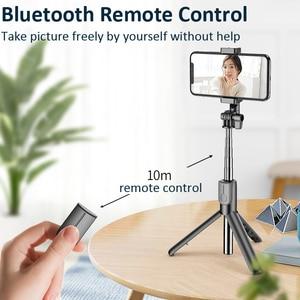 Image 2 - Vara sem fio de bluetooth selfie com tripé led anel luz extensível dobrável monopod handheld selfie vara para iphone samsung