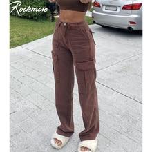Rockmore Jeans larghi Vintage marroni donna anni '90 tasche Streetwear pantaloni Cargo gamba larga Y2K pantaloni dritti in Denim a vita alta 2021