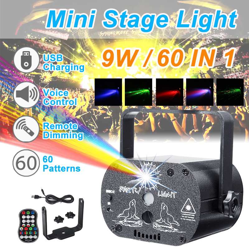 60 Modes Sound Activated Party Light Strobes Laser Light USB Charging 9W RGB LED Light Christmas Home KTV Wedding Show Bar