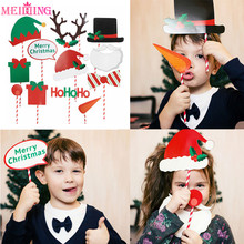 Christmas Decorations Photo Booth Props Merry Christmas Photobooth Hat Beard Photo Props Happy New Year 2020 Navidad Natale цена 2017