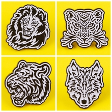 Black White Style Tiger Metal Zinc Alloy Brooch Ferocious lion Wolf Leopard Badge Pin Petite Trendy Clothing Backpack Jewelry zinc alloy artificial diamond crown pin brooch silver