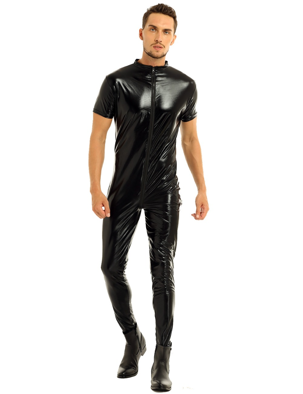 iEFiEL Mens Stretchy Faux Leather Short Sleeves Zipper Crotch Full Body Leotard Bodysuit Clubwear Overalls for Evening Party 13