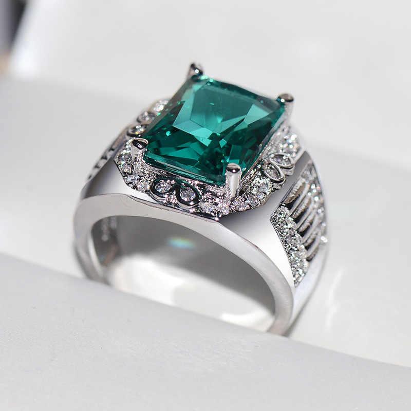 หญิงชายหมั้นแหวนขนาดใหญ่สำหรับผู้ชายผู้หญิง Sliver Vintage งานแต่งงานสแควร์สีเขียวหิน Zircon แหวนของขวัญ