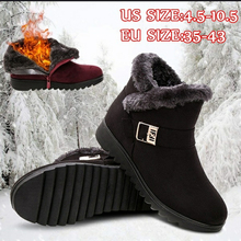 New Women Boots Winter Shoes 2019 Ankle For Snow Botas Mujer Casual Booties Warm Black Red Brown