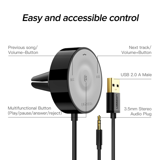 UGREEN Bluetooth 5.0 Car Kit Receiver aptX LL Wireless 3.5 AUX Adapter for Car Speaker USB Bluetooth 3.5mm Jack Audio Receiver 5