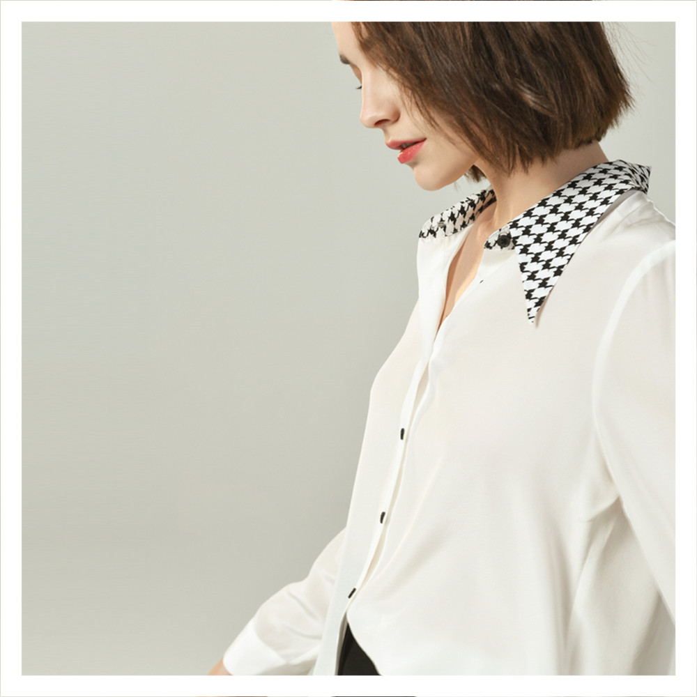 Silviye Color matching Lapel silk white shirt women's Long Sleeve Silk Crepe de Chine top foreign style shirt 2020 new summer
