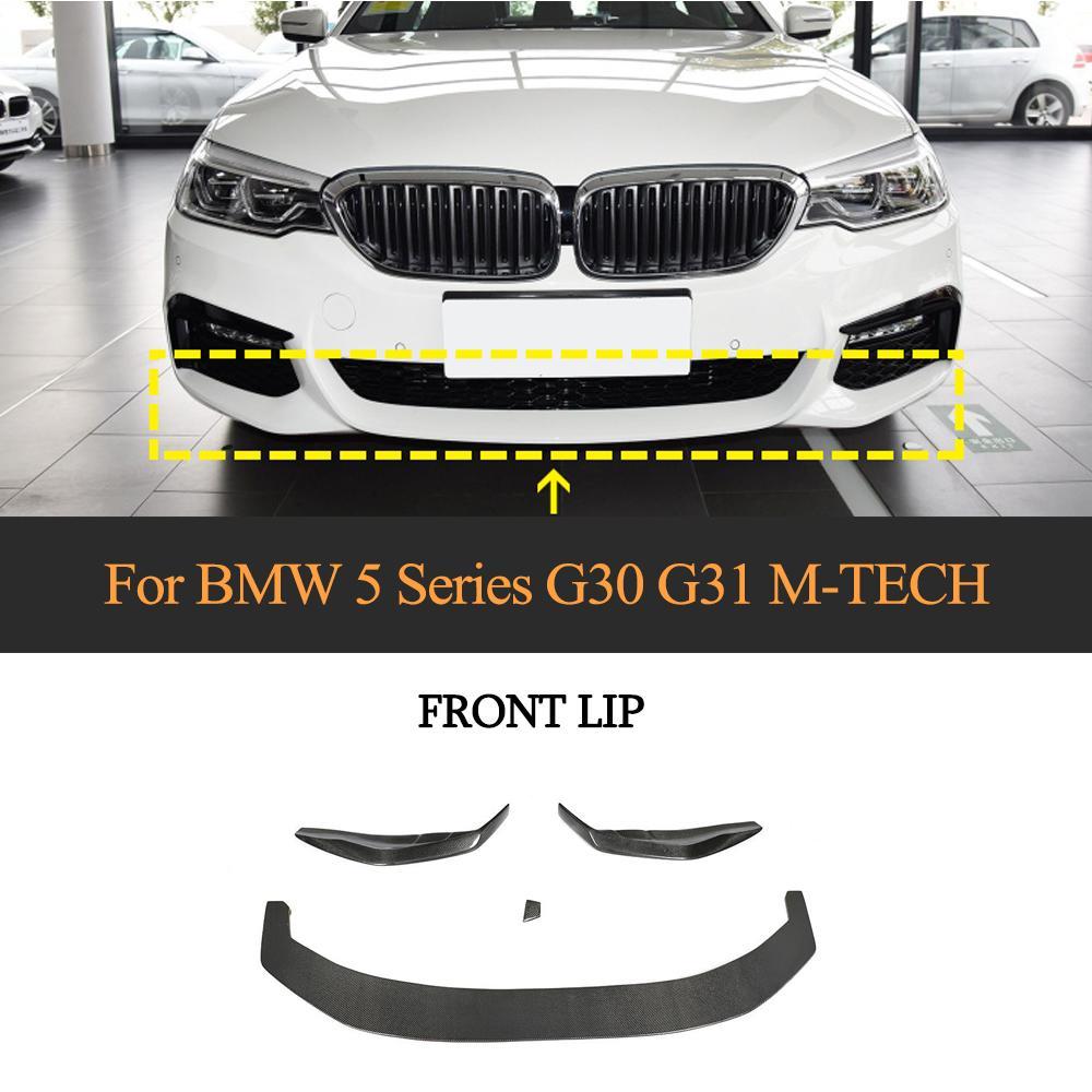 5 Series Car Front Bumper Lip Splitters For BMW G30 G31 G38 M-Tech M Sport 2017-2020 Carbon Fiber Car Front Bumper Lip Spoiler