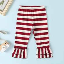 Милые детские брюки с поясом для маленьких девочек; милые повседневные весенне-осенние расклешенные брюки в полоску с кружевом; От 0 до 3 лет