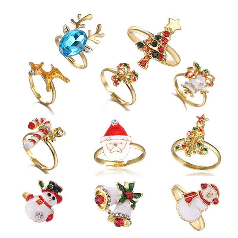 คริสต์มาสแหวนเคลือบการ์ตูนซานตาคลอส Xmas Tree รูปร่างแหวนน่ารัก