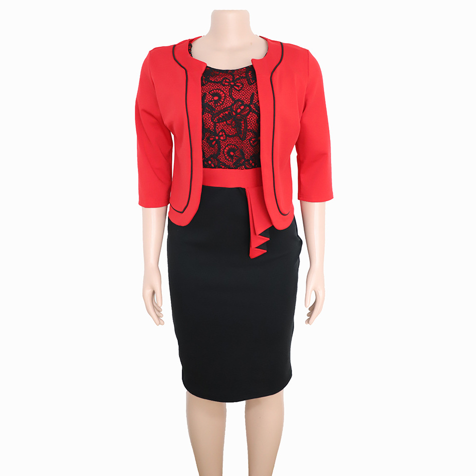 African Clothes Lace Patchwork Two Piece Set Women Elegant Blazer&Lace Pencil Dress High Quality Office Lady Plus Size 4
