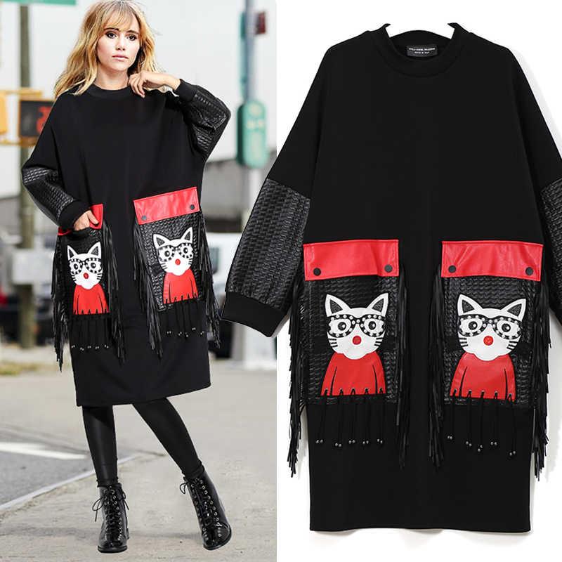 2020 Vrouwen Herfst Winter Black Midi Dress Plus Size Lange Mouwen Cartoon Pu Pocket Franjes Dames Leuke Grote Jurk Grote gewaad 3084