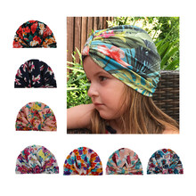 7 Colors Baby Girls Hats Floral Print Ear Caps Ears Cover Hat Europe Style Turban Knot Head Wraps Infant Kids India