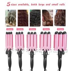 3-tête cheveux bigoudi cheveux racine Volume fer électrique vague bigoudi céramique 3 baril chauffé sertissage fer pour femmes rose 110-220v
