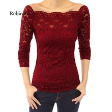 Anself Sexy Plus Size Lace Top Women Hollow Out Off Shoulder Blouse Slash Neck Long Sleeves Elegant Ladies 5XL Shirt Tops