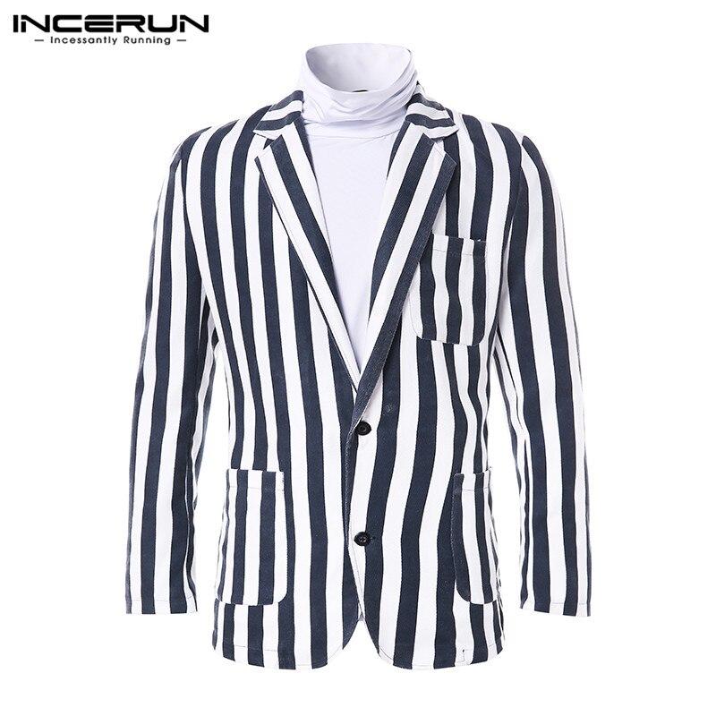 INCERUN, винтажный, Повседневный, мужской, модный, в полоску, с отворотом, пиджак, пальто, Social, однобортный, для мужчин, s, темпера, мужские пиджаки,...