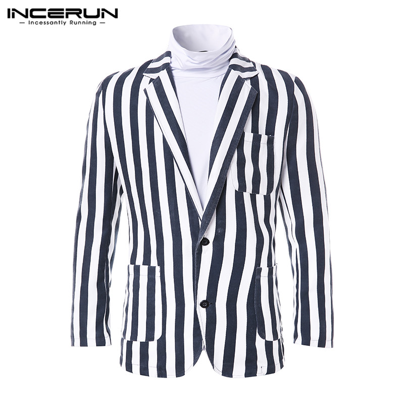INCERUN Vintage Casual Men Fashion Striped Lapel Suit Jackets Coats Social Single Breasted Mens Temperament Blazers Streetwear 7