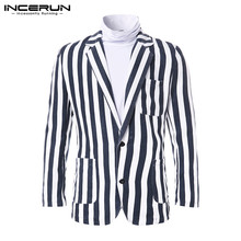 INCERUN Vintage Casual Men Fashion Striped Lapel Suit Jackets Coats Social Single Breasted Mens Temp