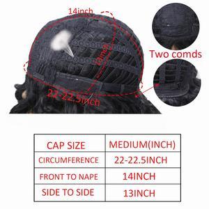 Image 5 - アミール合成ショートウィッグ黒アフロカーリーかつら女性のための自然な黒髪のかつら耐熱前髪かつら