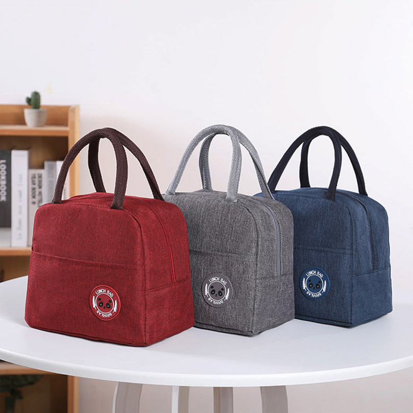 Solid Color Portable Lunch Bag Women Reusable Cold Insulated Lunch Bags Totes For Work Pinic Travel 2020 Casual Handbags