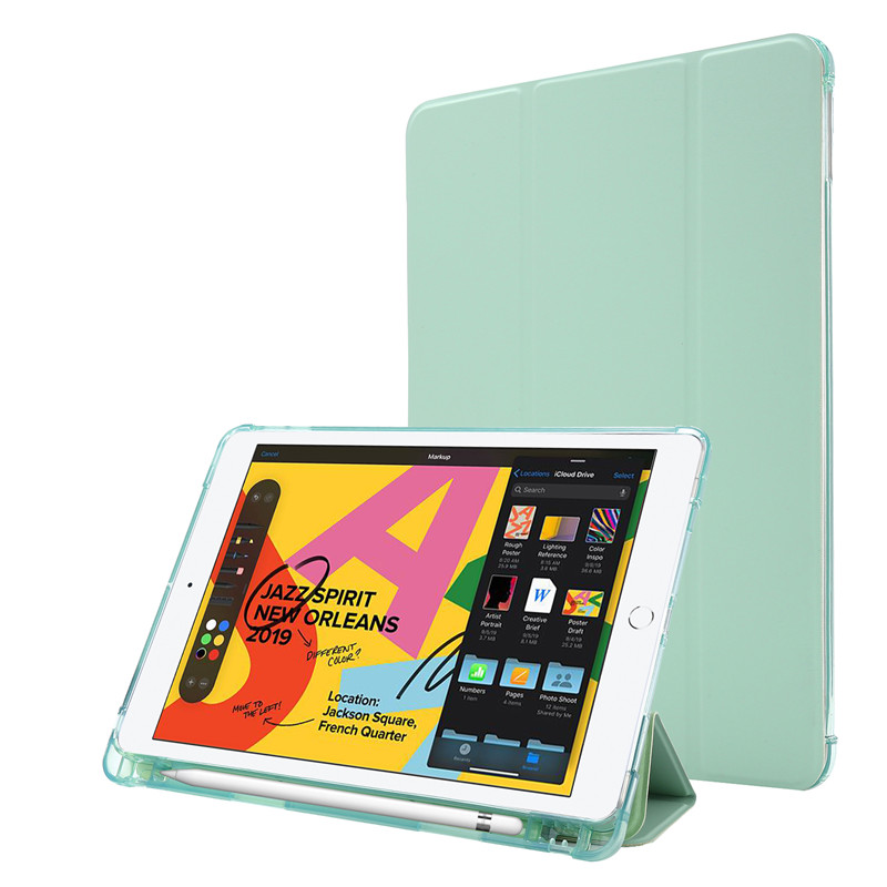 green Yellow For iPad Case 7th Generation Flip Stand Protective Case with Pencil Holder Smart Cover For iPad