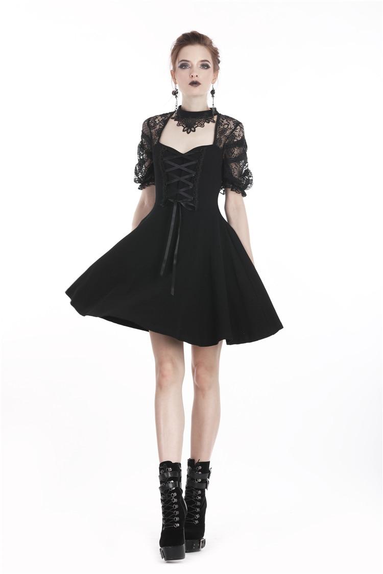 Darkinlove femmes gothique Lolita Floral dentelle dos nu velours noir petite robe a-ligne manches bouffantes Sexy Mini robe