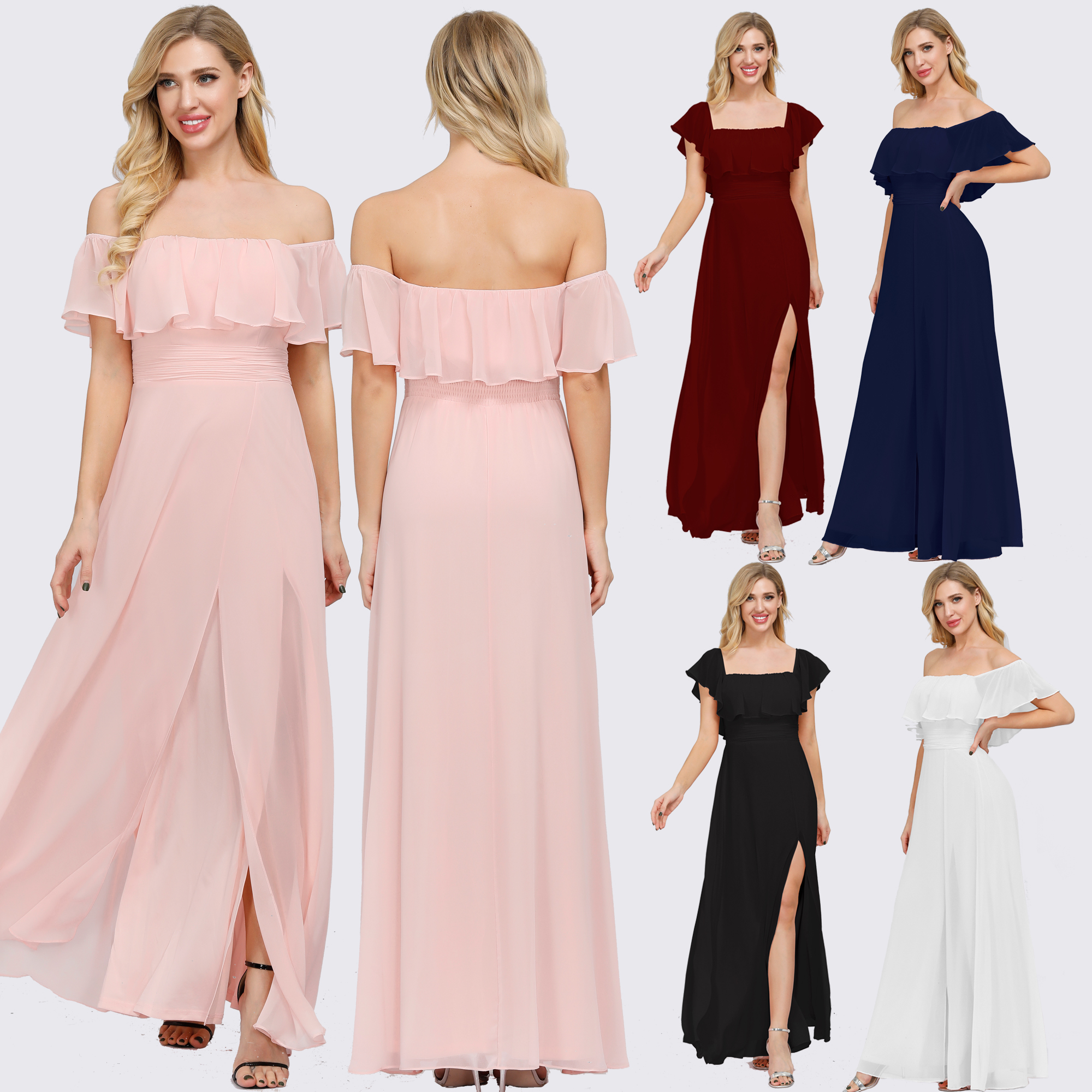 Plus Size Boat Neck Pink A Line Bridesmaid Dresses Vestidos De Madrinha XUCTHHC Formal Dress For Wedding Party 2020