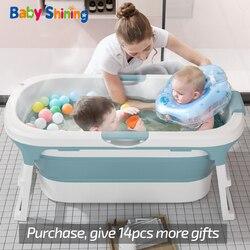 Bébé brillant pliant siège de baignoire 0-15Y adulte baignoire avec couvercle enfants bain baril grand ménage bain peut nager 2-3 enfants