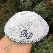حسب الطلب ، شخصية ، زفاف شابو مصباح من قماش الكتّان الأبيض kippahs ، kippot ، kipot مع شعار التطريز البحرية وحدود الحرية
