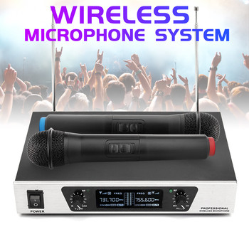 Professional Wireless Microphone VHF System 2CH Cordless Handheld Mic Cardioid Microphone Speech Party Karaoke Supplies