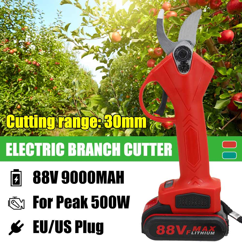 88V 30mm Cordless Rechargeable Electric Pruning Shears Secateur Fruit Tree Branch Cutter US EU Plug 9000mah Li-ion Battery