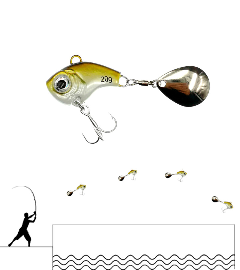 1Pcs Rotating Metal VIB vibration Bait Spinner Spoon Fishing Lures 5/10/15/20g Jigs Trout Winter Fishing Hard Baits Tackle Pesca 2