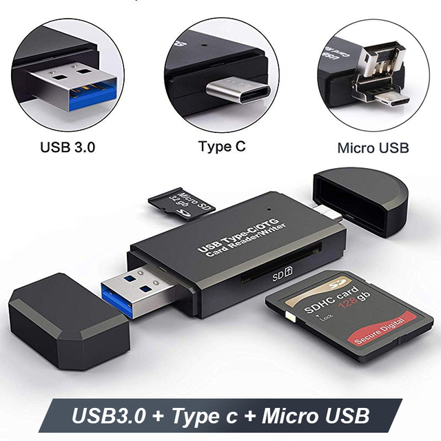 Lecteur de carte SD USB 3.0 OTG lecteur de carte Micro USB Type C lecteur de carte mémoire SD lecteur pour Micro SD TF USB type c OTG Cardreader